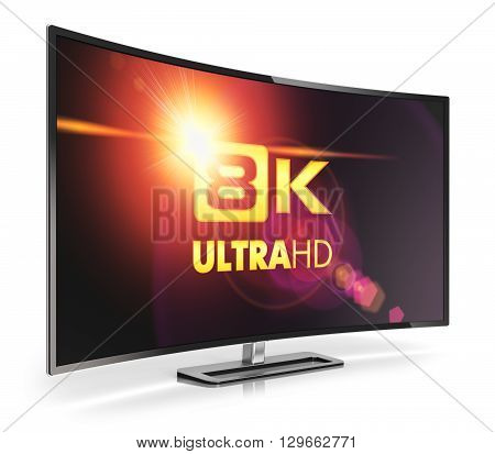 3D render illustration of curved 8K UltraHD resolution TV cinema or computer PC monitor display isolated on white background with reflection effect