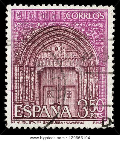 ZAGREB, CROATIA - JUNE 24: A stamp printed in the Spain shows Portal of St. Mary's Church, Sanguesa, Navarre, Spain, circa 1968, on June 24, 2014, Zagreb, Croatia