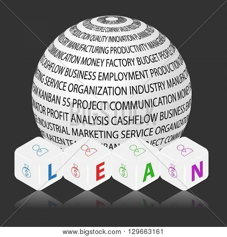 Vector cubes with ball and letters LEAN. Lean is modern program of productivity