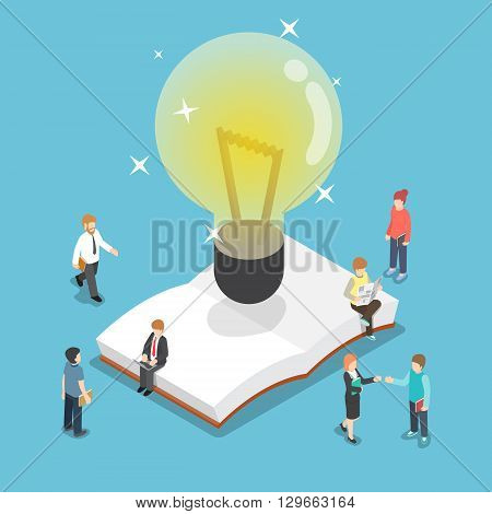 Isometric Light Bulb Over An Open Book With Business People