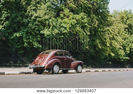 Saratov, Russia - June 21, 2015: Retro Car Opel Kapitan Standing On Road In The City