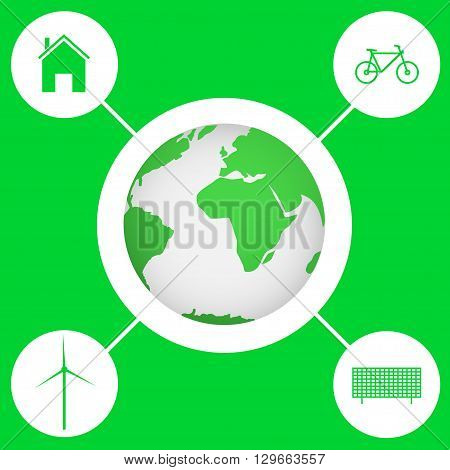 Green earth Bio concept Eco concept Wind energy Solar energy Green bicycle Alternative energy