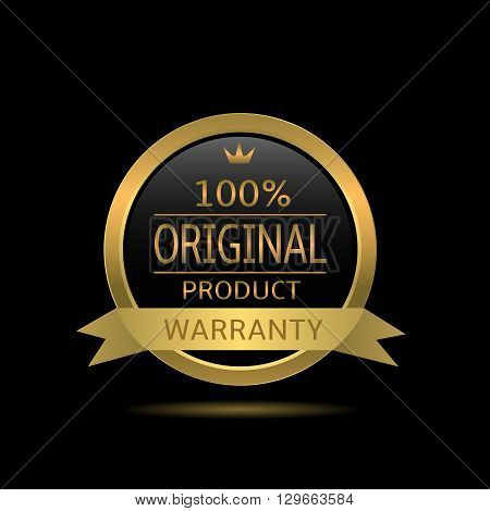 Original product label. Golden warranty badge with ribbon