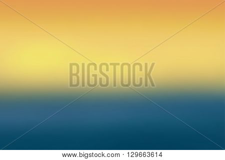 Orange and blue colored blurred background. Colorful defocused scenic background. Soft colored gradient backdrop. Abstract blurry sunset. Vector illustration