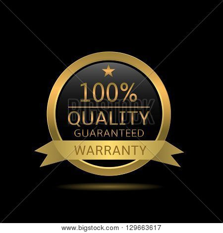 Quality guaranteed badge. Golden warranty label with ribbon