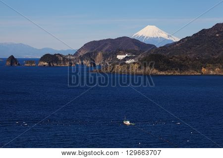 Mountain fuji and Japan sea in winter seen from Izu city Shizuoka prefecture