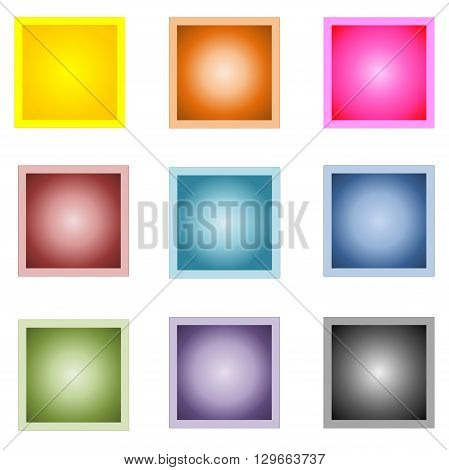 Set of nine colorful square buttons isolated in white background