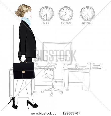 International business woman entering in office - vector illustration