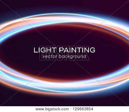 Light painting template. Abstract background with magic glowing crossed circle lights. Special effect with transparency. Vector illustration