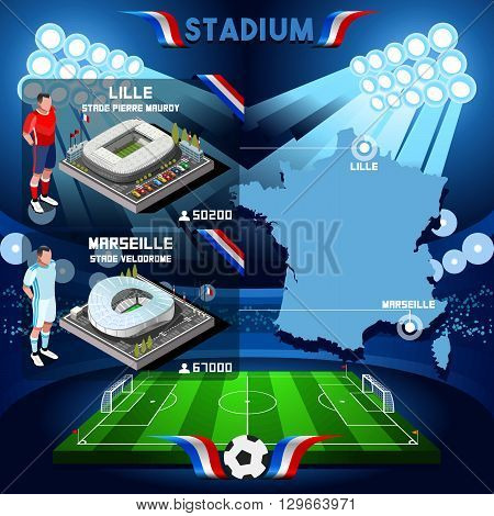 France stadium infographic Stade de Lille and Marseille. France stadium Icon. France stadium Jpg Jpeg. France stadium illustration. France stadium drawing. France stadium vector Eps object.