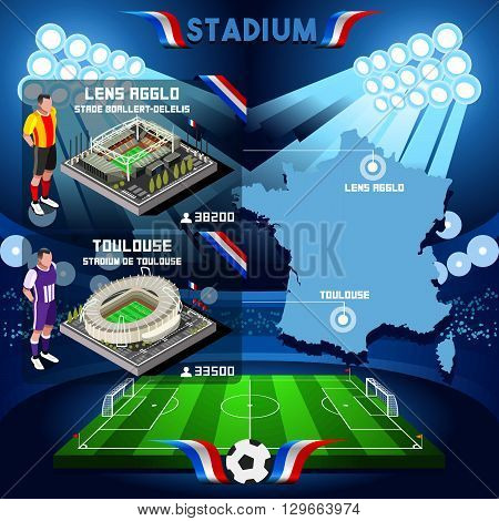 France stadium infographic Stade de Lens Agglo and Toulouse. France stadium Icon. France stadium Jpg Jpeg. France stadium illustration. France stadium vector Eps object.