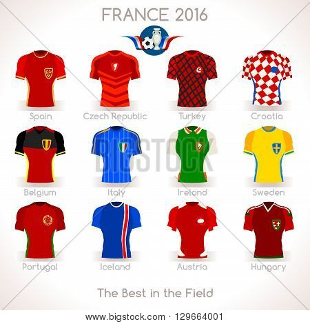 France EURO Championship Infographic Qualified Soccer Players. Football Game Jersey Apparel flags of final participating countries. Flat Vector Icons