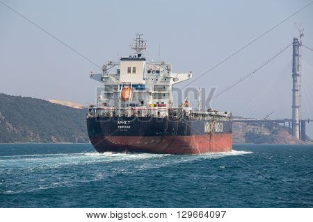 ISTANBUL TURKEY - JULY 29 2015 : Cargo ship and water Bosphorus strait in Istanbul Turkey
