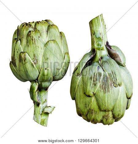 Two ripe artichokes isolated over white background