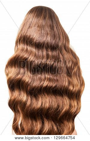 Gorgeous wavy hair flowing on her back close up, isolated on white background
