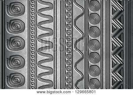 silver metallic background engraved with abstract patterns
