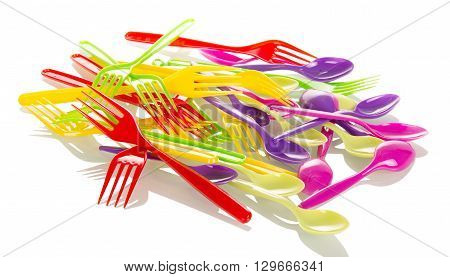 Disposable tableware, colorful fork isolated on white background