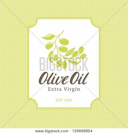 Extra virgin olive oil trade mark bottle or label with olive branche. Olive oil logo on seamless pattern. Vector illustration.