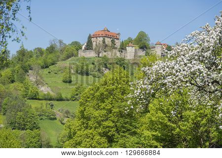 idyllic spring time scenery in Hohenlohe including the Stetten castle in Southern Germany