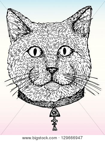 Cat. Portrait of a cat. cat's head. Cute cat. Animal. A pet. Line art. Black and white drawing by hand. Graphic arts. Tattoo. Decorative. Stylized.