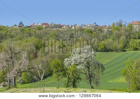 idyllic spring time scenery in Hohenlohe including a small town named Langenburg in Southern Germany