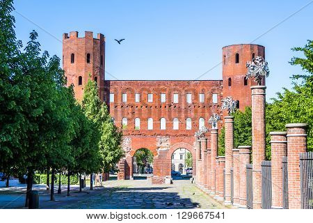 The Palatine Gate ( Porta Palatina) a Roman Age city gate located in Turin Italy.