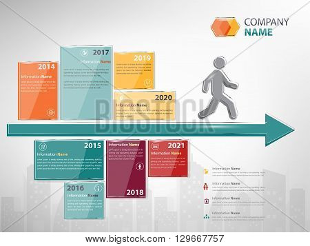 milestone and timeline company infographic for presentation and report (Vector eps10)