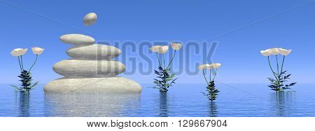 White poppies next to balanced stones upon water by day - 3D render