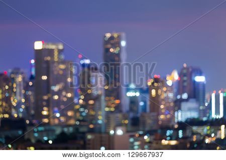 Night view, Blurred bokeh light city downtown, abstract background