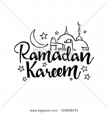 Ramadan Kareem handwritten lettering. Modern Calligraphy. Vector lettering isolated on white background. Ramadan Kareem hand drawn lettering with mosque for your design