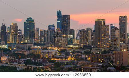 Multiple Office building during sunset, Bangkok business area background