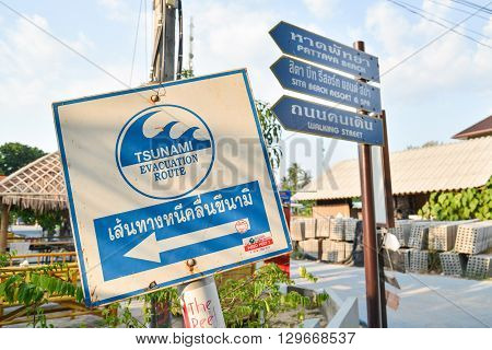 Lipe island Thailand - February 17 2016 : Tsunami escape sign in Lipe island