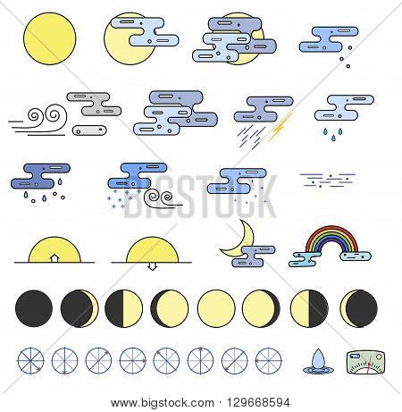Weather Icons collection and the phases of the moon. Outline modern style. Colorful icons