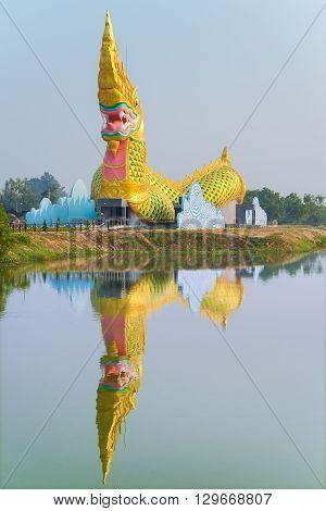 Yasothon Thailand - February 22 2016 : Statue of Naga meseum