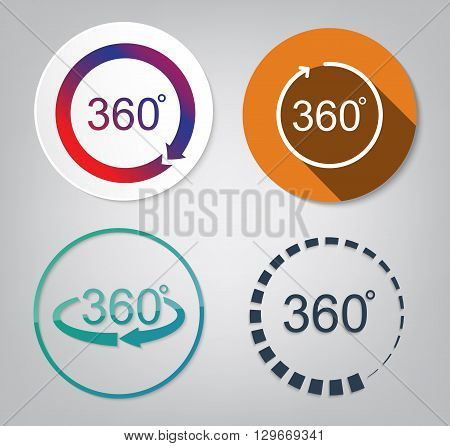 set vector of 360 degrees view sign icon