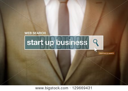Start up business web search bar glossary term on internet