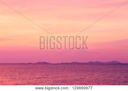 Beautiful sunset tone over seacoast skyline, natural landscape background