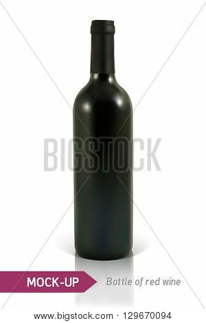Mockup realistic bottle of red wine on a white background with reflection and shadow. Template for wine label design.