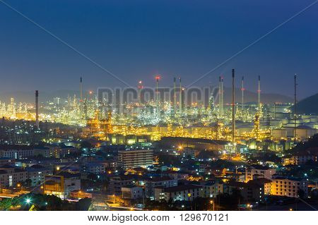 Night view, Oil refinery aerial view, industrial landscape background