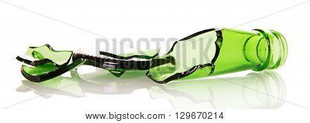 Sharp shards of beer bottles isolated on white background