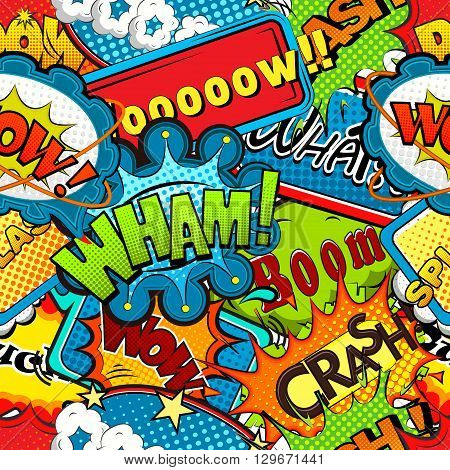 Multicolored comics speech bubbles seamless pattern vector illustration
