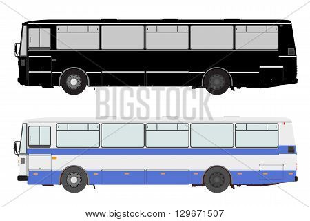 Set bus on a white background. Vector illustration.