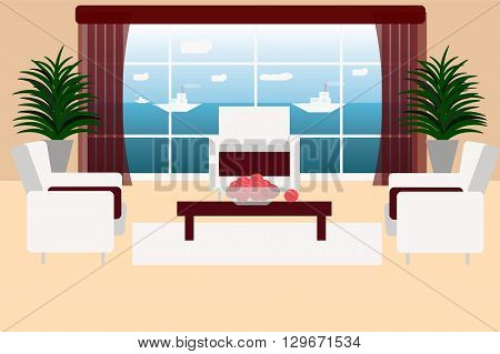 Large bright living room with sea views, yachts floating in the distance