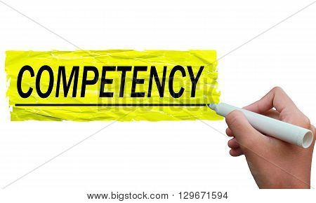competence sentence written on colorful paper using a black marker