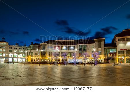 SOPOT, POLAND - APRIL 14, 2016: Night view of Sopot with many shops, clubs, galleries. Sopot is a very popular tourist resort in the country.