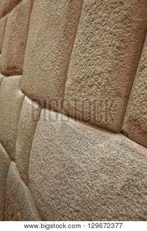 Detail of Inca wall in city of Cuzco in Peru