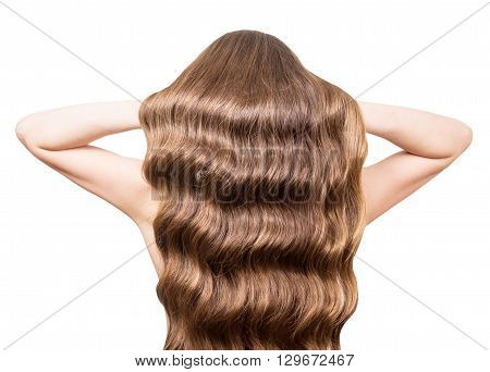 Luxury, wavy hair brown hands raised isolated on white background