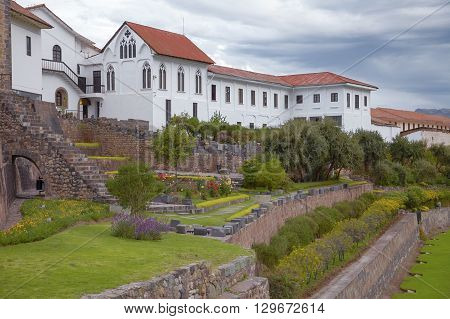 Gardens at church of Santo Domingo and Qurikancha in Cuzco Peru