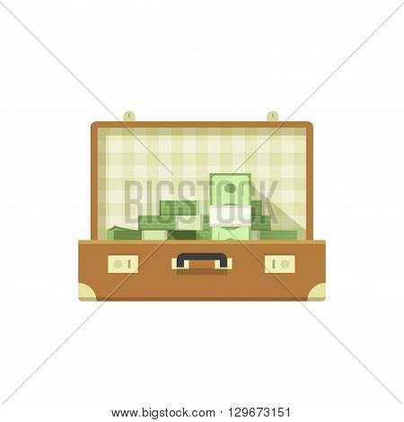 Leather suitcase open full of money vector illustration isolated on white background, suitcase money concept, suit case open, suitcase cash flat icon cartoon design