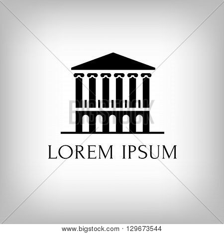 Logo building with columns. Theatre or museum or bank or academy.